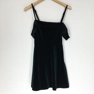 Lulus S Dress Velvet Green Mini Velour